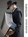 Small photo of playing accordion, having fun