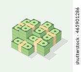 Big Stacked Of Money  Dollars...