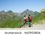 two bikers looking at the... | Shutterstock . vector #465903806
