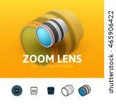 zoom lens color icon  vector...