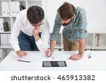 two men standing near table and ... | Shutterstock . vector #465913382