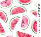 watercolor slices of watermelon.... | Shutterstock . vector #465923852