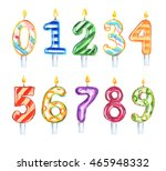 Watercolor Birthday Candles Se...
