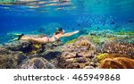young girl at snorkeling in the ... | Shutterstock . vector #465949868