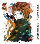 portrait of a girl in a coat. a ... | Shutterstock . vector #465955256