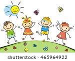 jumping children | Shutterstock .eps vector #465964922