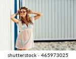 young cute girl  wearing a... | Shutterstock . vector #465973025