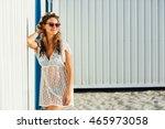 young cute girl  wearing a... | Shutterstock . vector #465973058