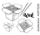 wok vector drawing with... | Shutterstock .eps vector #465973232