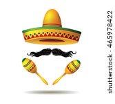 sombrero maracas and mustache.... | Shutterstock .eps vector #465978422