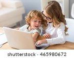 press it. contented little girl ... | Shutterstock . vector #465980672