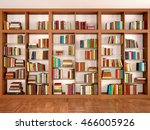 wooden and glass shelves with...   Shutterstock . vector #466005926