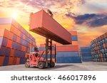 industrial crane loading...   Shutterstock . vector #466017896
