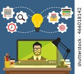 laptop with video online... | Shutterstock .eps vector #466018142