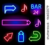vector neon signs set - stock vector