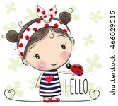cute cartoon girl with a bow... | Shutterstock .eps vector #466029515