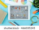 challenge concept on tablet pc... | Shutterstock . vector #466035245