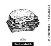 hand drawn sketch beef sandwich.... | Shutterstock .eps vector #466036835