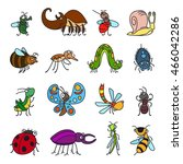 vector funny insects and cute... | Shutterstock .eps vector #466042286