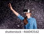 beautiful woman wearing virtual ...   Shutterstock . vector #466043162