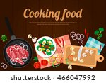 cooking dishes with meat and... | Shutterstock .eps vector #466047992