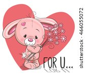 valentine card cute cartoon... | Shutterstock . vector #466055072