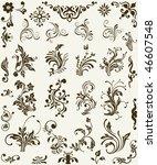 vintage floral elements  scroll ... | Shutterstock .eps vector #46607548