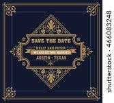 vintage wedding label | Shutterstock .eps vector #466083248