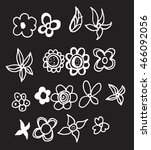 set of flower doodles on... | Shutterstock .eps vector #466092056