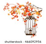 bird cage among autumn tree... | Shutterstock .eps vector #466092956