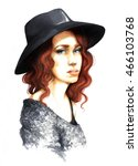 portrait of a girl in a hat | Shutterstock . vector #466103768