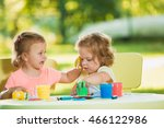 two year old girls painting... | Shutterstock . vector #466122986