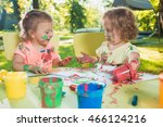 two year old girls painting... | Shutterstock . vector #466124216