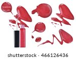 smudged red lip gloss product... | Shutterstock . vector #466126436