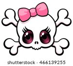 cute big eyed girl skull with a ...