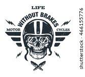 racer skull in helmet  vintage... | Shutterstock .eps vector #466155776