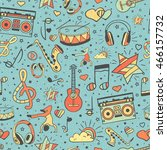 vector musical pattern  doodle... | Shutterstock .eps vector #466157732