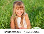 one happy little girl playing... | Shutterstock . vector #466180058