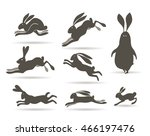 Stock vector vector illustration set of different poses and silhouettes of rabbits or hares isolated on white 466197476