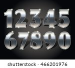 silver numbers set on dark... | Shutterstock .eps vector #466201976