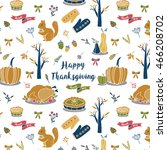 whimsical autumn thanksgiving... | Shutterstock .eps vector #466208702