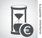 sandglass icon and euro sign in ...