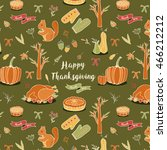 seamless autumn thanksgiving... | Shutterstock .eps vector #466212212