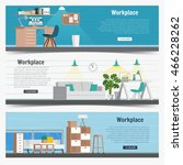 web banner set office workplace ... | Shutterstock .eps vector #466228262
