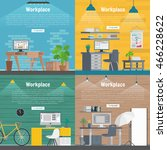 banner set office workplace... | Shutterstock .eps vector #466228622