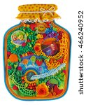 Small photo of Canned Time. Allegorical illustration. Summer scents like canned in glass jar handmade