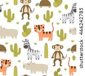 cute safari animals seamless... | Shutterstock .eps vector #466242785