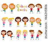 vector set of different girls... | Shutterstock .eps vector #466245806