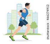illustration of a man running...   Shutterstock .eps vector #466274912