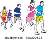 group of runners illustration | Shutterstock .eps vector #466300625